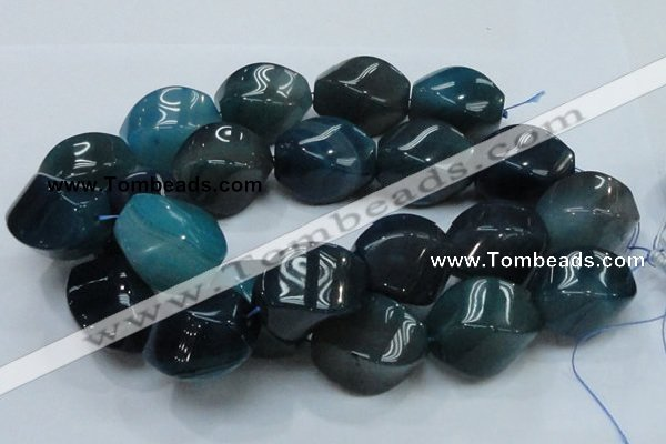 CAG222 15.5 inches 25*35mm twisted blue agate gemstone beads