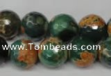 CAG2226 15.5 inches 16mm faceted round fire crackle agate beads