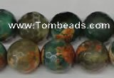 CAG2227 15.5 inches 18mm faceted round fire crackle agate beads
