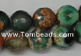 CAG2228 15.5 inches 20mm faceted round fire crackle agate beads