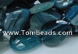 CAG223 15.5 inches 15*20mm faceted briolette blue agate beads
