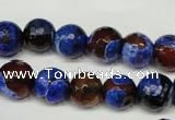CAG2234 15.5 inches 12mm faceted round fire crackle agate beads