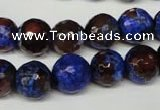 CAG2235 15.5 inches 14mm faceted round fire crackle agate beads