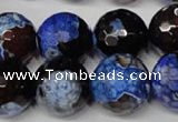 CAG2237 15.5 inches 18mm faceted round fire crackle agate beads