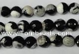 CAG2242 15.5 inches 8mm faceted round fire crackle agate beads