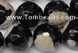 CAG2248 15.5 inches 20mm faceted round fire crackle agate beads