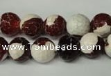 CAG2254 15.5 inches 12mm faceted round fire crackle agate beads
