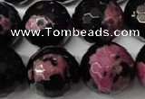 CAG2268 15.5 inches 20mm faceted round fire crackle agate beads