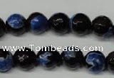 CAG2274 15.5 inches 12mm faceted round fire crackle agate beads