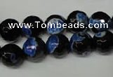 CAG2275 15.5 inches 14mm faceted round fire crackle agate beads