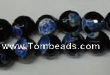 CAG2276 15.5 inches 16mm faceted round fire crackle agate beads