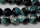 CAG2285 15.5 inches 14mm faceted round fire crackle agate beads