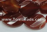 CAG229 15.5 inches 20*25mm faceted twisted oval red agate beads