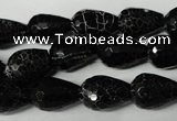 CAG2296 15.5 inches 10*14mm faceted teardrop fire crackle agate beads