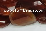 CAG230 15.5 inches 22*30mm faceted twisted teardrop red agate beads