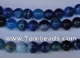 CAG2341 15.5 inches 6mm round blue line agate beads wholesale