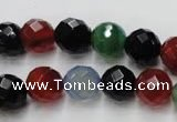 CAG2353 15.5 inches 10mm faceted round multi colored agate beads