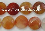 CAG2396 15.5 inches 20mm faceted coin red agate beads wholesale