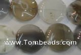 CAG2438 15.5 inches 18mm flat round Chinese botswana agate beads