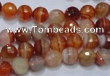 CAG2702 15.5 inches 8mm faceted round red line agate beads