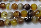 CAG2711 15.5 inches 6mm faceted round yellow line agate beads