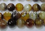 CAG2712 15.5 inches 8mm faceted round yellow line agate beads