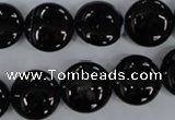 CAG2908 15.5 inches 14mm flat round black line agate beads