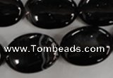 CAG2920 15.5 inches 18*25mm oval black line agate beads