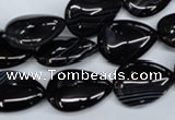 CAG2926 15.5 inches 13*18mm flat teardrop black line agate beads