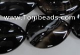 CAG2929 15.5 inches 22*30mm flat teardrop black line agate beads