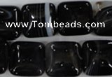 CAG2945 15.5 inches 16*16mm square black line agate beads