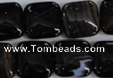 CAG2946 15.5 inches 18*18mm square black line agate beads
