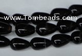 CAG2962 15.5 inches 8*12mm teardrop black line agate beads