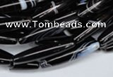 CAG2968 15.5 inches 5*25mm rice black line agate beads