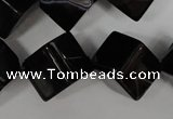CAG2980 15.5 inches 14*14mm cube black line agate beads