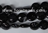 CAG2991 15.5 inches 10mm flat round black line agate beads