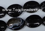 CAG3004 15.5 inches 15*20mm oval black line agate beads