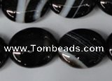 CAG3005 15.5 inches 18*22mm oval black line agate beads