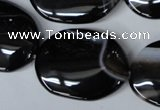 CAG3007 15.5 inches 22*30mm oval black line agate beads