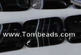CAG3025 15.5 inches 18*25mm rectangle black line agate beads