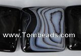CAG3038 15.5 inches 35*35mm square black line agate beads