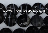 CAG3073 15.5 inches 14mm faceted coin black line agate beads