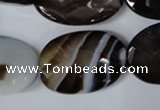 CAG3090 15.5 inches 20*30mm faceted oval black line agate beads