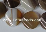 CAG3154 15.5 inches 20mm twisted coin brown line agate beads