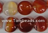 CAG3184 15.5 inches 16mm flat round red line agate beads