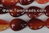 CAG3213 15.5 inches 13*18mm flat teardrop red line agate beads