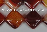 CAG3234 15.5 inches 16*16mm diamond red line agate beads