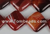 CAG3235 15.5 inches 18*18mm diamond red line agate beads
