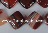 CAG3240 15.5 inches 16*16mm diamond red line agate beads