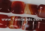 CAG3243 15.5 inches 16*16mm square red line agate beads